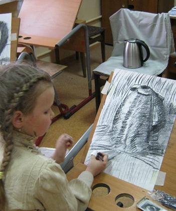 Рис. 13 Штрихование цилиндрической формы предмета. Уголь