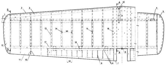 Чертеж крыла кордовой модели F-2-B. Расположение нервюр